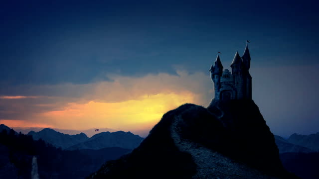 storybook castle at sunrise - dragon stock videos and b-roll footage