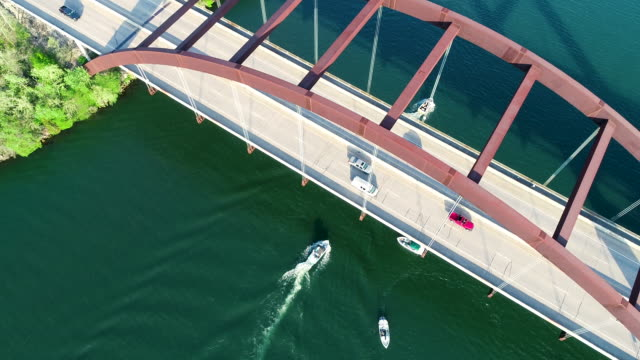 Straight down above Pennybacker Bridge with Boats and Town Lake in Austin Texas