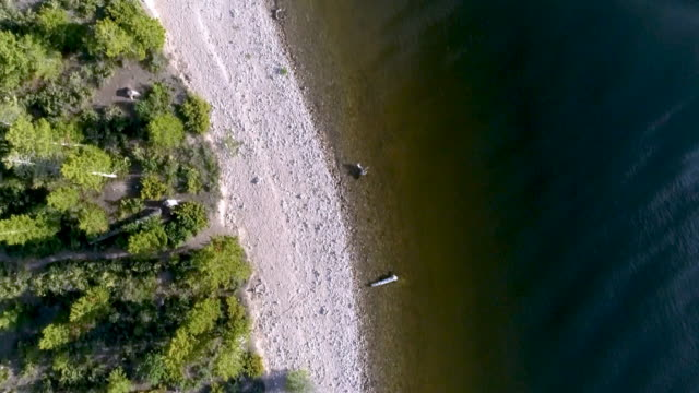 Straight down aerial drone view of white sandy shore of mountain lake video