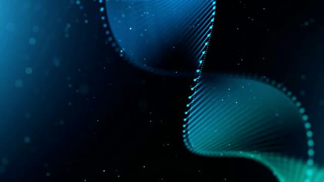 vídeos de stock e filmes b-roll de dna strand forms with particles on blue - hélice formas geométricas