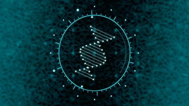 dna strand scanning in futuristic medical user interface with infographic elements - генетическое исследование стоковые видео и кадры b-roll