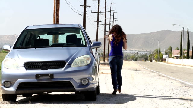Stranded Driver Hispanic Woman Out of Gas video