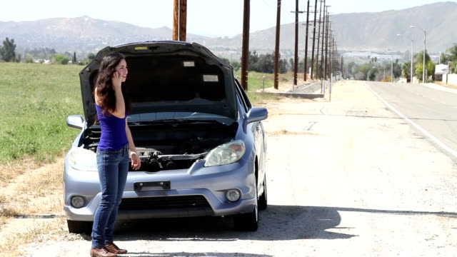 Stranded Driver Hispanic Woman Side of Road video