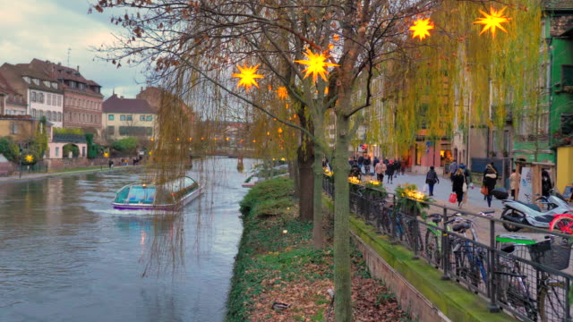 strasbourg scenic boat at sunset sailing the canal at christmas - gothic architecture stock videos & royalty-free footage