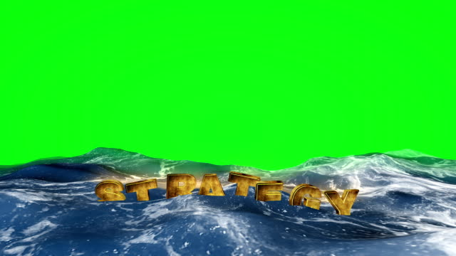 Strategy text is floating in the water on green screen