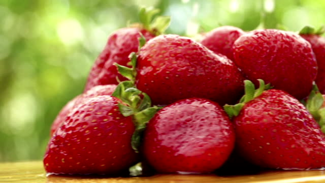 Strawberries with waterdrops video
