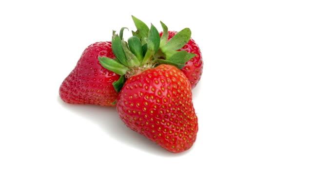 vídeos de stock e filmes b-roll de strawberry isolated - baga