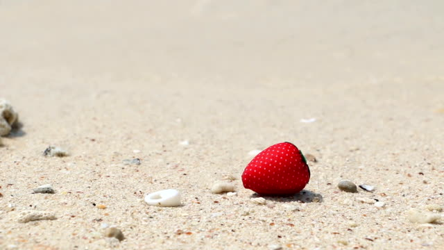strawberry on the beautiful beach and tropical sea. - white background стоковые видео и кадры b-roll