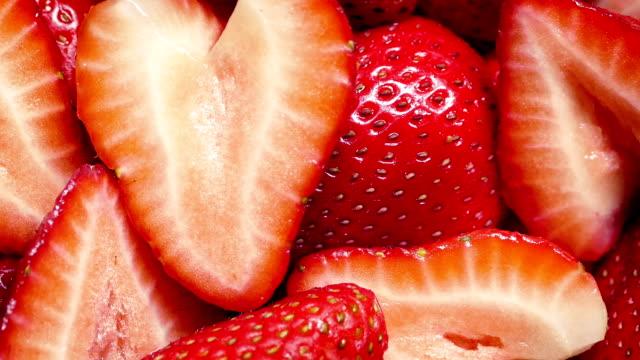 Strawberry Pieces Rotating Closeup video