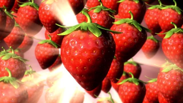 Strawberry Rain amongst light rays loop. video