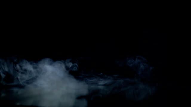Ein Strom von weißem Rauch wird in den Spiegel geblasen, Zeitlupe – Video