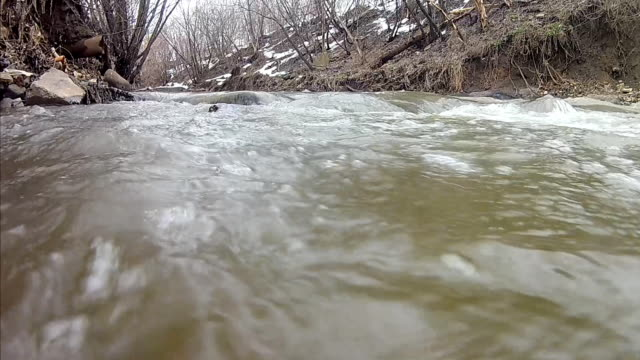 stream water by early spring  river in city video