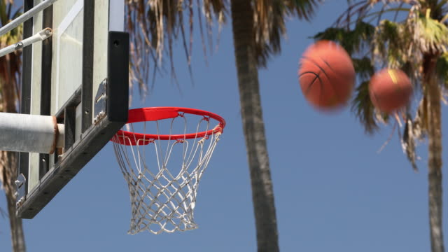 Street basketball and hoop at the beach park video