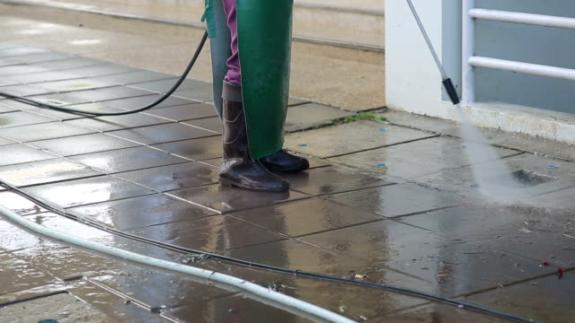 street care and cleaning services with water machine video