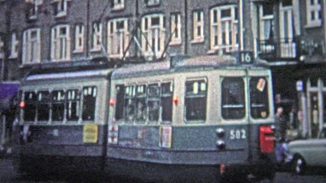 Amsterdam, Netherlands- 1966: Street cars were a popular form of public transportation in the urban center. video