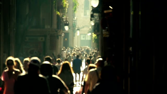 Calle multitud slowmotion - vídeo