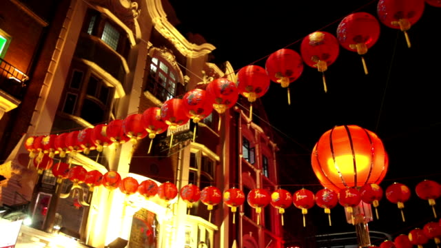 Street Decoration In London Chinatown At Night video