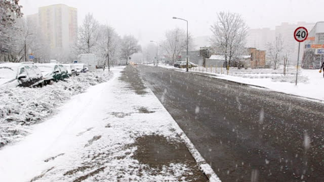 Street during snowing video