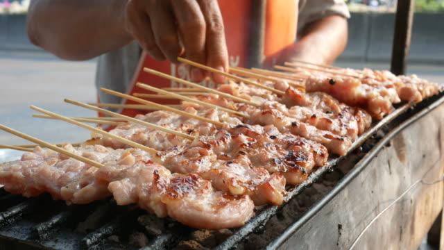street food in Thailand , pork grilled video