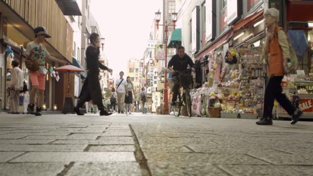 Street Friends Shopping Sidewalk Market Timelapse Japan. video