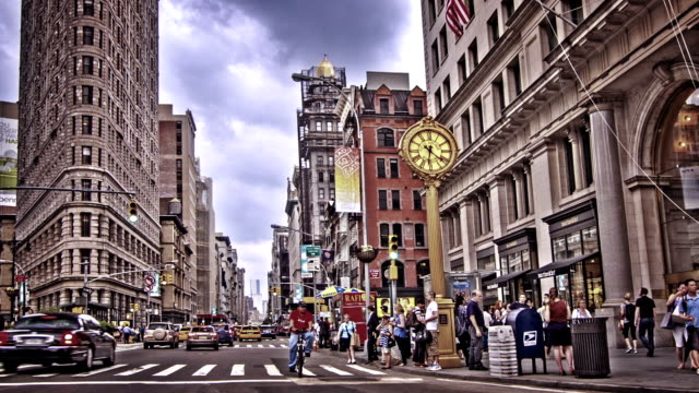 Street in New York and big street clock video