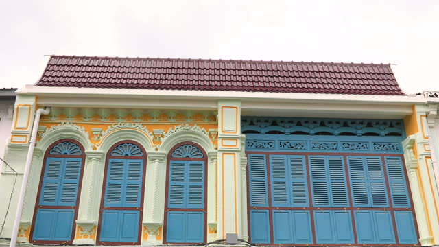 Street in the Sino-Portugese style Romani in Phuket Town. Also called Chinatown or the old town.