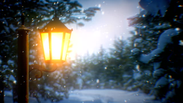 Street lantern and snow (loopable)