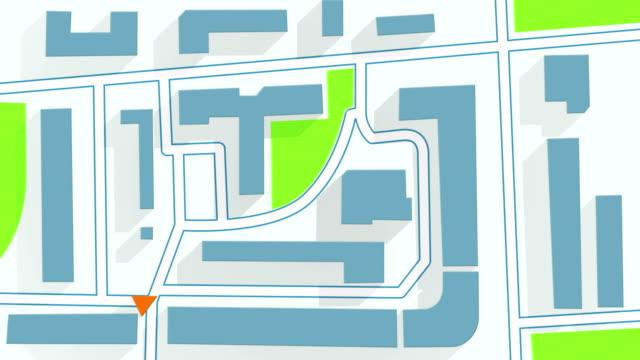 street map gps navigator long shadows animation - geografia fisica video stock e b–roll