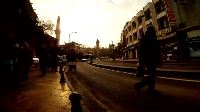 Street near Eastern Marketplace Far Mosque Setting Sun Urfa video