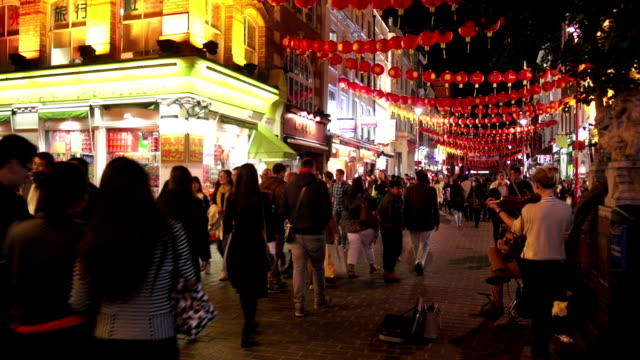 Street Performers In London Chinatown Night Shot video