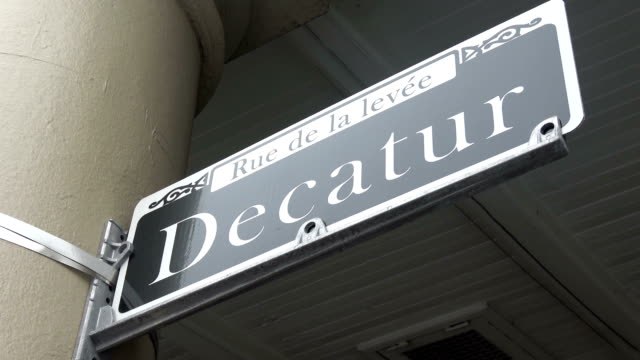 Street sign Decatur street in New Orleans video