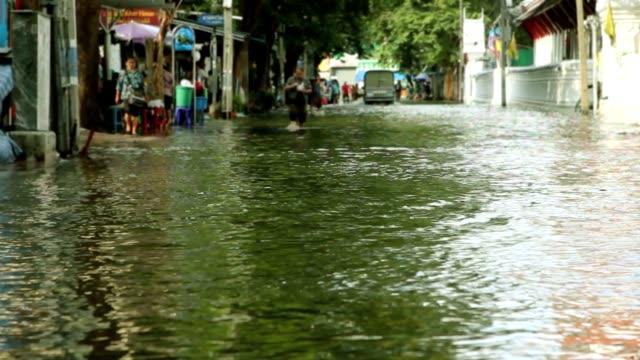 Street under flood video