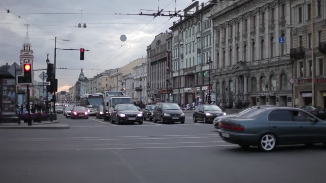 Street with cars in St. Petersburg Shops cars and houses on the background Street with cars in St. Petersburg russia, petersburg, city, street, architecture, traffic st saint car baltic countries stock videos & royalty-free footage