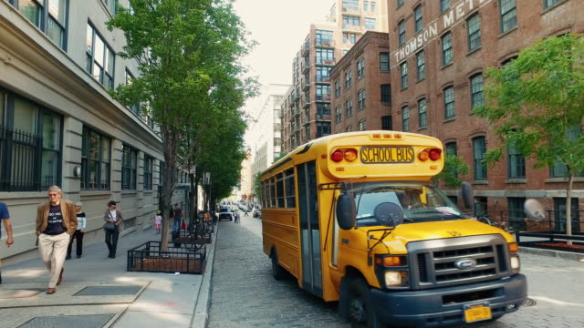 streets of new york city - school buses stock videos and b-roll footage