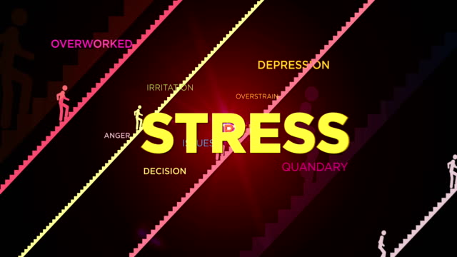 Stress, crisis and tired animation video