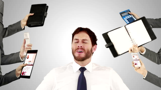 Stressed businessman with hands on head video
