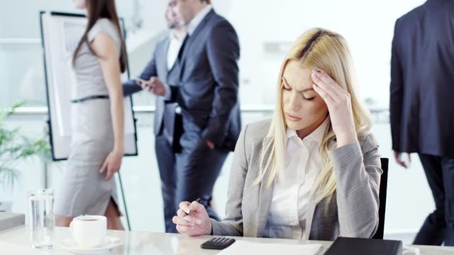 Stressed businesswoman video