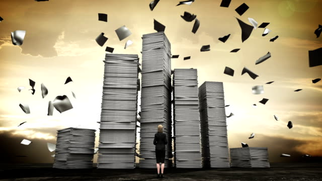 Stressful businesswoman with too many stack of paper. overload work.2 video