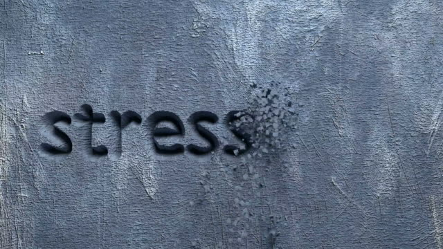 stressless word carved in a grey wall animation of stressless word carved in a grey wall mental wellbeing stock videos & royalty-free footage