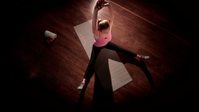 Stretching routine for flexibility at the end of workout in gym video