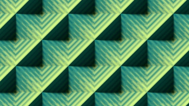 Striped pyramids line art. Shiny colored motion graphic. Digital seamless loop animation. 3d rendering. HD resolution