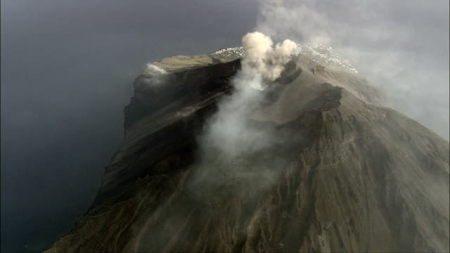 Stromboli Volcano Smoking  - Aerial View - Sicily, Province of Messina, Lipari, Italy video