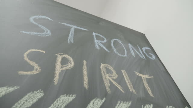 Strong spirit powerful body limit less ambition are words written on a blackboard using chalk to determine students to work out hard in gym class video