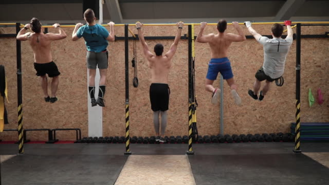Strongmen Doing Chin-ups On Gymnastic Bars In Gym Group Of Strong Sportsmen Working Out With Gymnastic Bars In Gym cross training stock videos & royalty-free footage