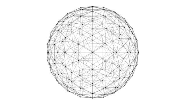 vídeos de stock, filmes e b-roll de estrutura de esfera com linhas de conexão de rede e pontos isolados no fundo branco no conceito de tecnologia futurista de computador digital, ilustração 3d abstrato - esfera