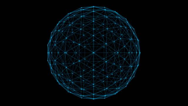 ネットワーク接続線とドットの未来のデジタル コンピューター技術コンセプトは、3 d の抽象的なイラスト黒背景に分離された球の構造 - 球形点の映像素材/bロール