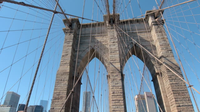 CLOSE UP: Structure of stunning Brooklyn bridge with city downtown in background video