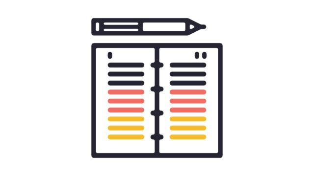 structured notes line icon animation with alpha - animation icon stock videos and b-roll footage