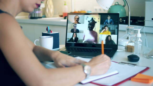 A student during online studying. video