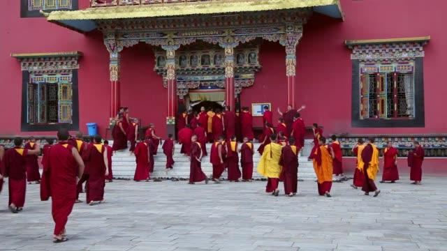 katmandu 'daki manastırda öğrenci rahipler. - stupa stok videoları ve detay görüntü çekimi